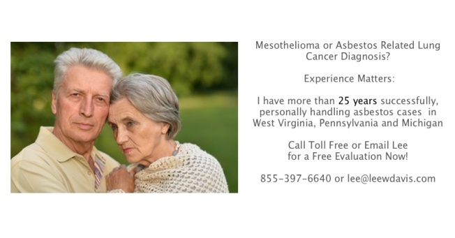 West Virginia and Pennsylvania Mesothelioma Lawyer Lee Davis has more than 25 years experience.